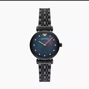 Emporio Armani black steel bracelet watch